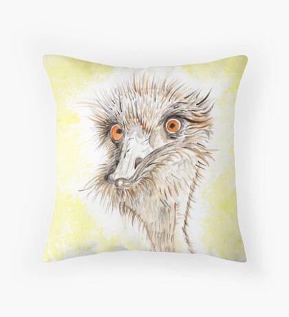 Silly EMU Throw Pillow