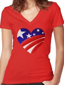 Big American Heart Women's Fitted V-Neck T-Shirt