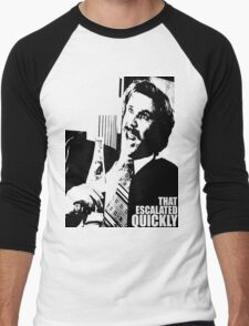 "Ron Burgundy ""That escalated quickly"" in Anchorman T-Shirt Men's Baseball ¾ T-Shirt"