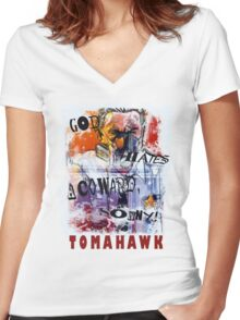 TOMAHAWK - god hates a coward Women's Fitted V-Neck T-Shirt