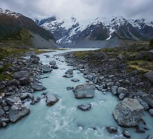 Hooker River with Meuller Glacier _ New Zealand by Barbara Burkhardt