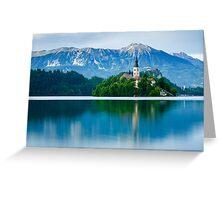 Lake Bled Island church Greeting Card