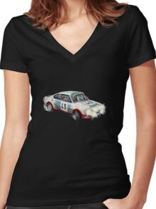 VINTAGE RALLY CAR. Women's Fitted V-Neck T-Shirt