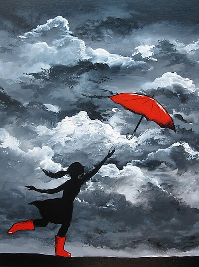 Red Umbrella by Sally Ford