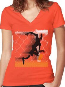 tribe bball nyc Women's Fitted V-Neck T-Shirt