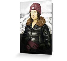 Mona Lisa in winter Greeting Card