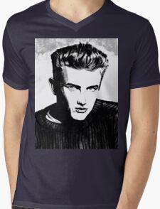 Jimmy Dean: Black & White Mens V-Neck T-Shirt