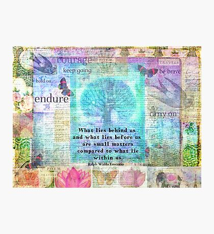 Tree and Nature Art Collage with Emerson Inspirational Quote Photographic Print