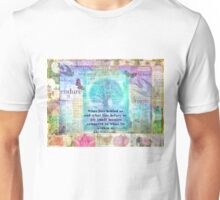 Tree and Nature Art Collage with Emerson Inspirational Quote Unisex T-Shirt