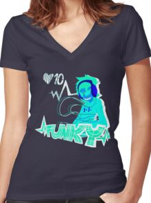 Funky Dealer  Women's Fitted V-Neck T-Shirt