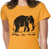 Asian Elephants Ahead / Thai Elephant Trekking Traffic Sign Womens Fitted T-Shirt