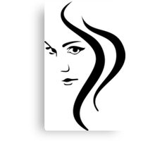 Girl Face and Hair Canvas Print