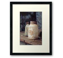 Old Dusty Mason Jars Framed Print