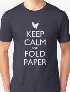 Keep Calm & Fold Paper (Chicken) - Dark T-Shirt