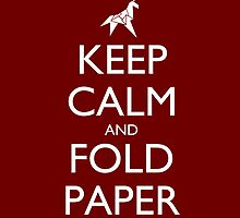 Keep Calm and Fold Paper - Unicorn / Red by olmosperfect