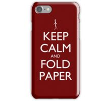 Keep Calm and Fold Paper - Stickman/Red iPhone Case/Skin