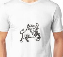 Raging Bull Attacking Charging Woodcut  Unisex T-Shirt