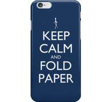 Keep Calm and Fold Paper - Stickman/Blue iPhone Case/Skin