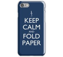 Keep Calm and Fold Paper - Stickman/Blue iPhone Case/Skin