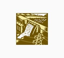 Hydroelectric Hydro Energy Dam Woodcut Unisex T-Shirt