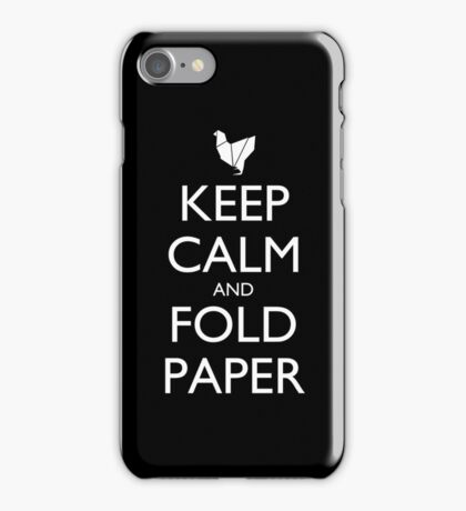 Keep Calm and Fold Paper - Chicken/Black iPhone Case/Skin
