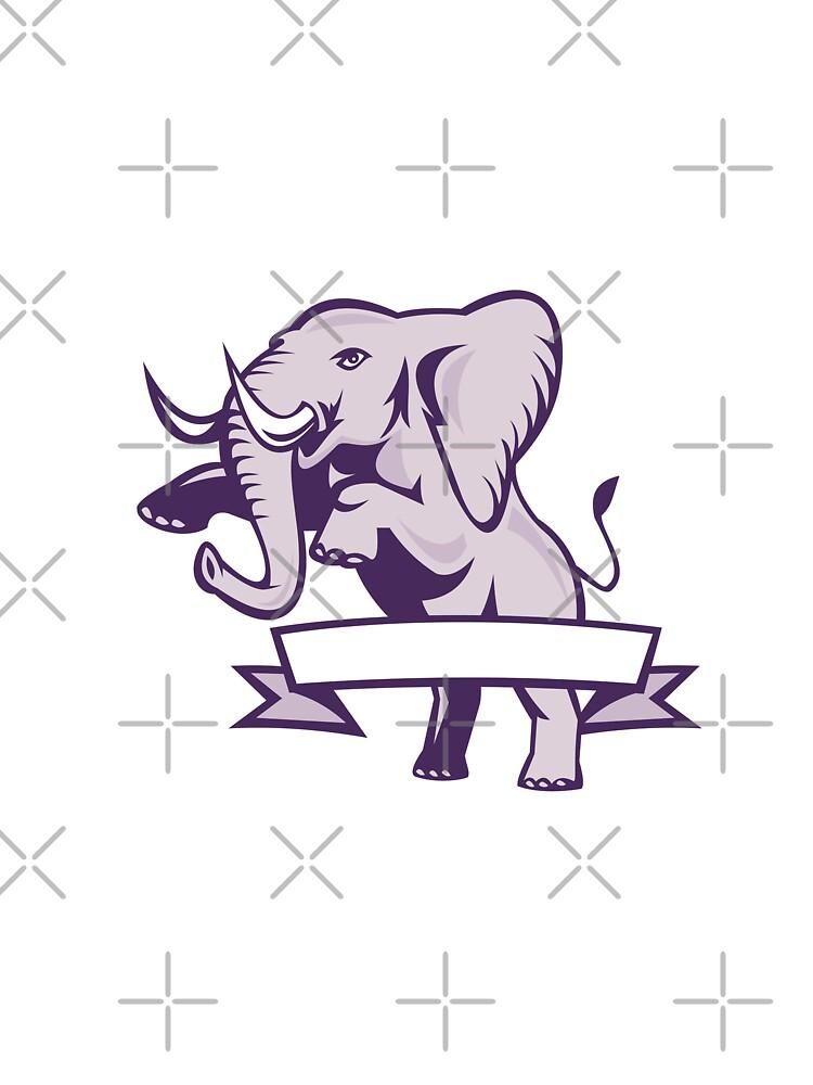 Elephant Prancing Ribbon Scroll by patrimonio