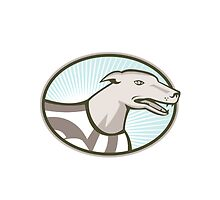 Greyhound Dog Head Retro by patrimonio
