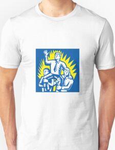 Businessman Leader Prop Up Shoulders Woodcut Unisex T-Shirt