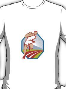 Marathon Runner Running Race Track Retro T-Shirt