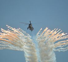 Sea King Firing Flares by mike  jordan.