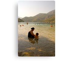 Turkish Woman And Child, Blue Lagoon, Olu Deniz .. Canvas Print