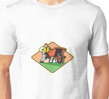 Gardener Pushing Wheelbarrow Retro Unisex T-Shirt