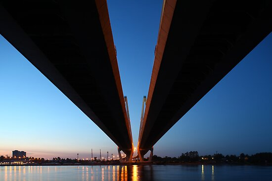 Cable-stayed bridge at night by mrivserg
