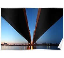 Cable-stayed bridge at night Poster
