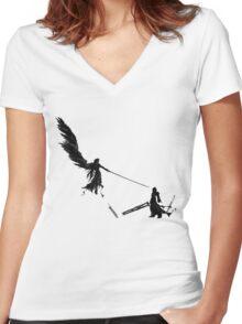 Sephiroth vs Cloud GS Women's Fitted V-Neck T-Shirt