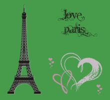 Eiffel Tower, Hearts - Black Pink Kids Clothes