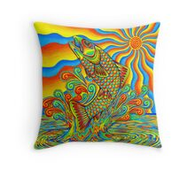 Psychedelic Rainbow Trout Throw Pillow