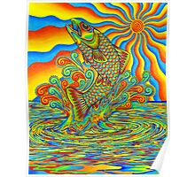 Psychedelic Rainbow Trout Poster