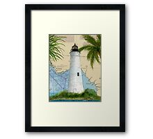 St Marks Lighthouse FL Chart Map Cathy Peek Framed Print