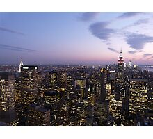 NYC Empire State and Chrysler Building Twilight  Photographic Print
