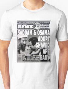 Saddam and Osama adopt shaved ape baby Unisex T-Shirt