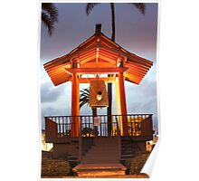 Japanese Friendship Bell at night Poster