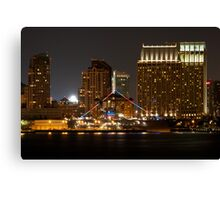 USS Midway at night Canvas Print
