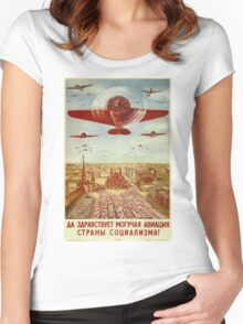Vintage poster - Russian plane Women's Fitted Scoop T-Shirt