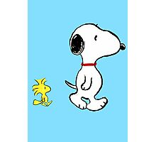 Snoopy and woodstock walking Photographic Print
