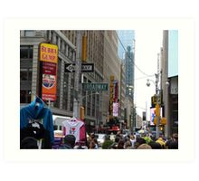 NYC Street with Signs Art Print