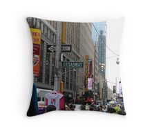 NYC Street with Signs Throw Pillow
