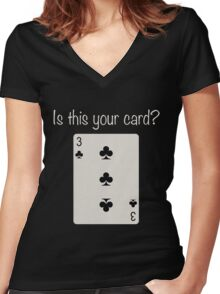 3 of Clubs Women's Fitted V-Neck T-Shirt