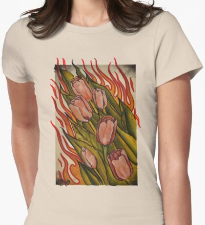 pink tulips in flames Womens Fitted T-Shirt