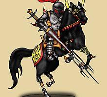 BLACK KNIGHT ON HORSE by squigglemonkey